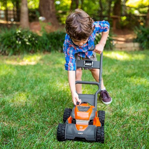 Husqvarna Toy Lawn Mower For Kids Realistic Sounds Lights Orange Backyard Play