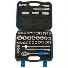 "1/2"" Socket Set Sq. Dr. Combined MM/AF (41 Piece) by Draper Tools"